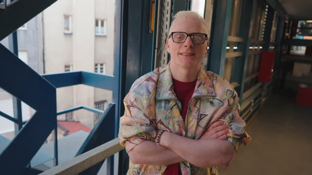 fashionable and confident young albino men, proudly showing off his individuality - hipster culture stock videos & royalty-free footage
