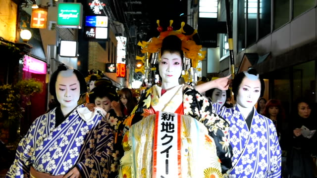 fashionable edo period beauties a 20meterlong dragon horned demons and bawling toddlers marked the coming of spring during a parade held feburary 3... - drache stock-videos und b-roll-filmmaterial