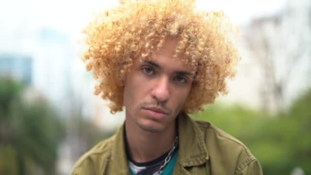 fashionable men with curly hair portrait - fashionable stock videos & royalty-free footage