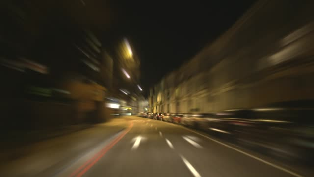 Fast City Night Driving Time-lapse. HD