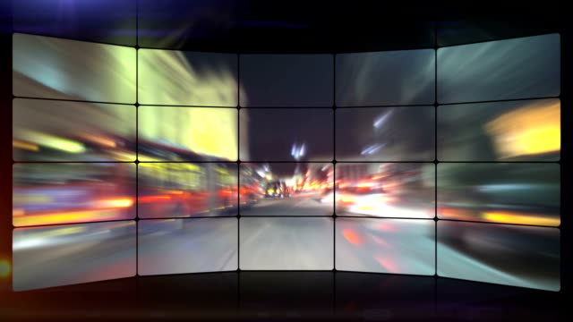 fast city night driving time-lapse video wall. hd - video wall stock videos & royalty-free footage