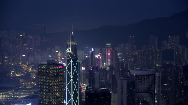 fast cut gvs hong kong skyline night and day - hong kong stock videos & royalty-free footage