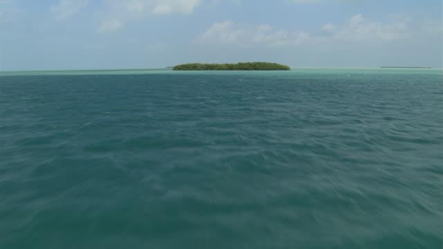 fast flight over clumps of green islands near florida coast - artbeats stock videos & royalty-free footage