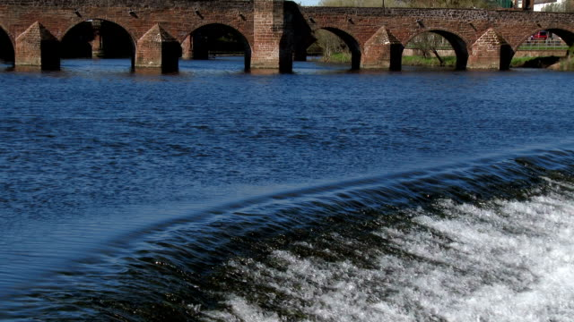 Fast flowing water at the weir on a Scottish river.