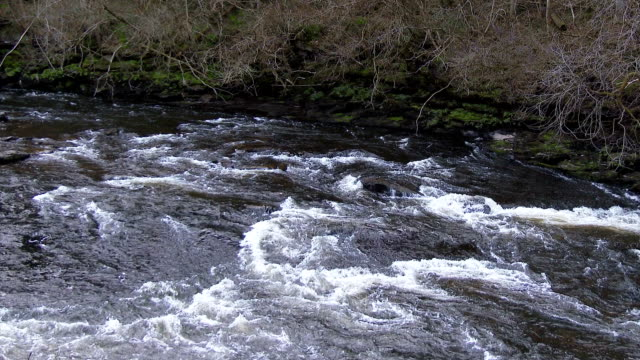 Fast flowing water on the Falls of Clyde, Scotland