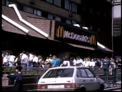 fast food chains in moscow - russia stock videos & royalty-free footage