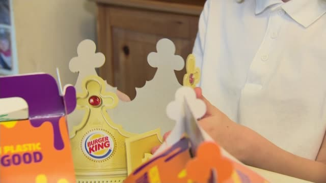 fast food giants burger king and mcdonald's move to cut plastic toy waste following campaign by sisters england hampshire southampton int caitlin... - toy stock videos & royalty-free footage