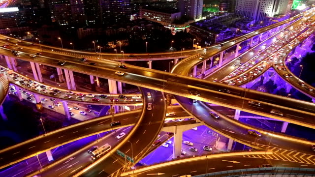 Fast Motion - Shanghai Highway at Night
