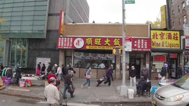 fast motion time-lapse of people shopping in flushing - chinese ethnicity stock videos & royalty-free footage