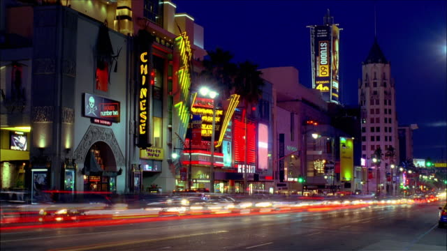 Fast motion traffic and buildings along Hollywood Boulevard with Grauman's Chinese Theater, Virgin Megastore and the Kodak Theater in the Hollywood and Highland Complex / Hollywood, Los Angeles, California