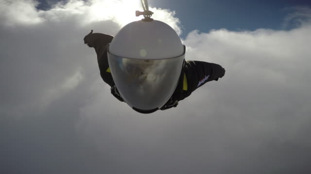 Fast motion/sped up Cloud Surfing In A Wingsuit