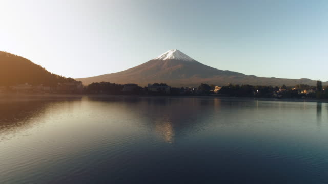 fast moving of fuji mountain with kawaguchiko lake, japan - mt fuji stock videos & royalty-free footage