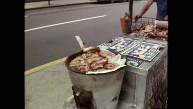 fast sequence of new york restaurant and street food cart; 1980 - yellow taxi stock videos & royalty-free footage