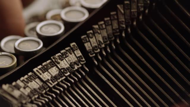ld fast striking type bars of old typewriter - typewriter stock videos & royalty-free footage