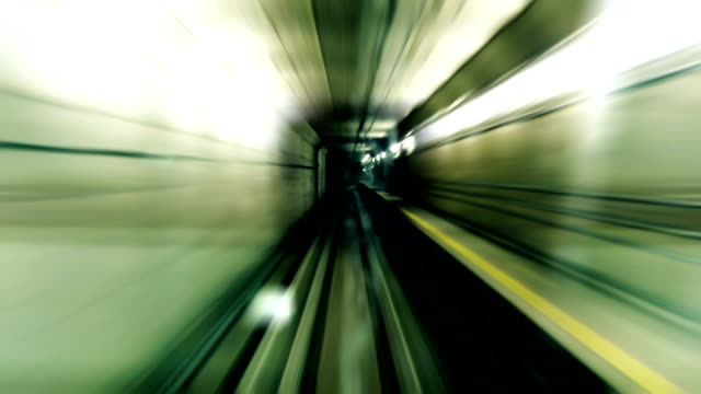 stockvideo's en b-roll-footage met fast stylized subway - tunnel
