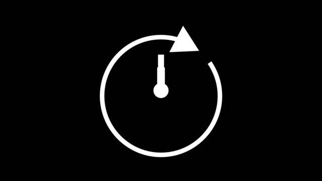 高速時間12時間、ストップウォッチは、矢印のシンプルなアニメーションを移動してアイコンクロックアニメーションをアニメーション化。タイムカウンターシンボルのストックビデオ - countdown点の映像素材/bロール
