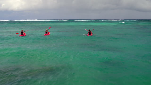 fast tracking low aerial shot of four friends ocean kayaking - kahuku stock videos & royalty-free footage