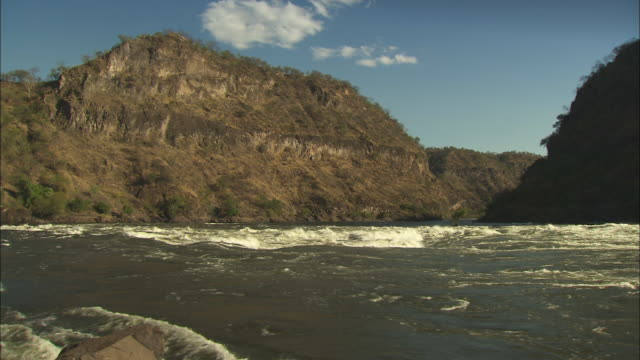 Fast water courses along the Kebrabasa Gorge in Mozambique