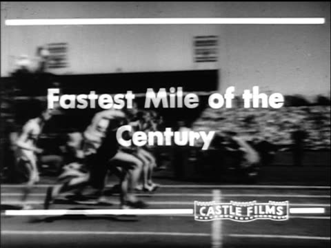 """B/W 1954 """"Fastest Mile of the Century"""" title over PAN of men running around track in race"""