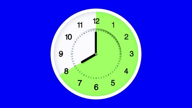 vidéos et rushes de 16:8 délai d'horloge de jeûne se déplaçant rapidement sur la touche chroma. heure 12h00 à 12h00 courir vite. 16/8 fractionnement du jeûne intermittent. les concepts de nourris, fedding, date limite, réveil, heure, perte de poids, zone de repas, al - hygiène de vie