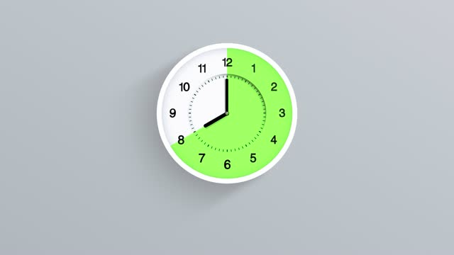 16:8 fasting clock time lapse moving fast on white back. time 12.00 am to 12pm run fast. 16/8 split intermittent fasting. the concepts of fed, fedding, deadline, waking up, hour, loss weight, meal zone, diet, health nutrition, if, daily eating, loopable - illustration stock videos & royalty-free footage