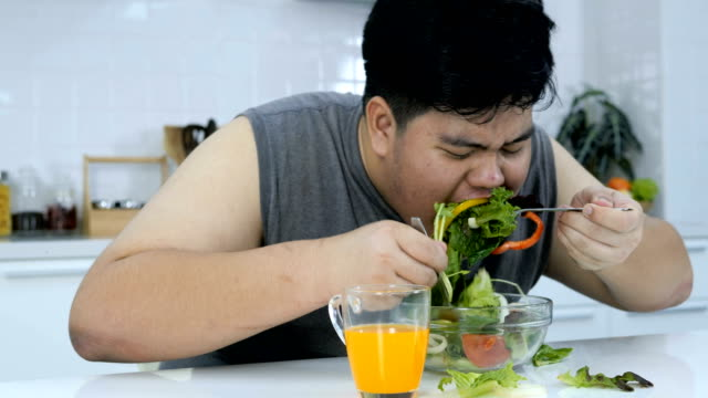 fat man eating salad on a plate quickly. - salad stock videos & royalty-free footage