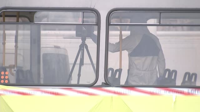 fatal shooting on tram in utrecht puts city on lockdown for several hours the netherlands randstad utrecht ext forensic worker on tram feet of worker... - utrecht stock videos & royalty-free footage