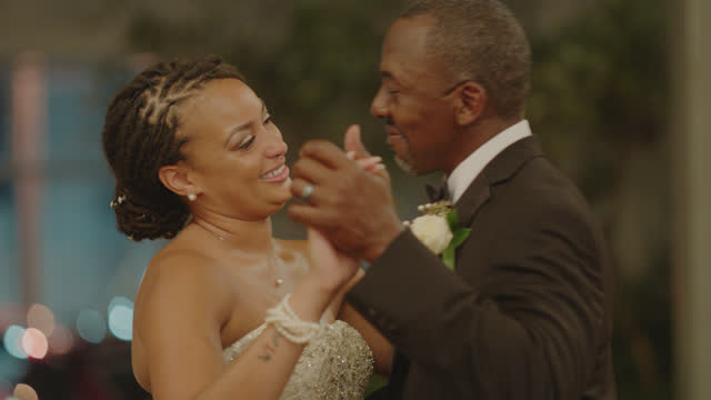 cu father and bride share a father daughter dance together - single father stock videos & royalty-free footage