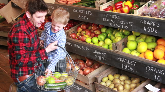 father and child  in organic shop - vegetable stock videos & royalty-free footage