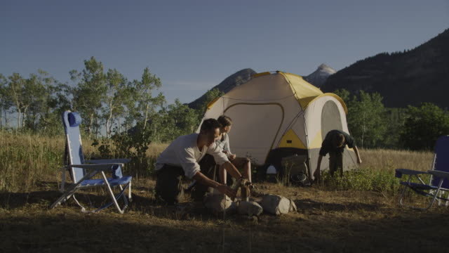 father and children camping - pacific islander family stock videos & royalty-free footage