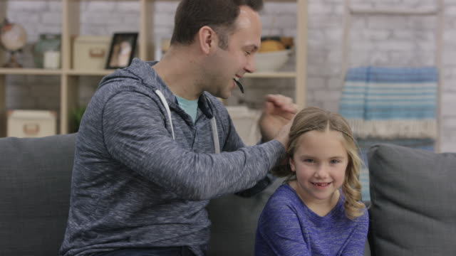 father and daughter bonding time - ponytail stock videos & royalty-free footage