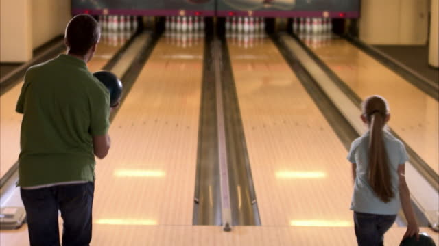 father and daughter bowling sweden. - bowl stock videos & royalty-free footage