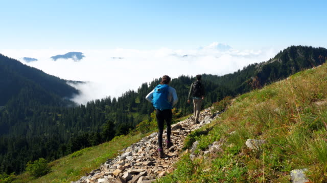 ms father and daughter hiking down trail on mountainside - rucksack stock-videos und b-roll-filmmaterial