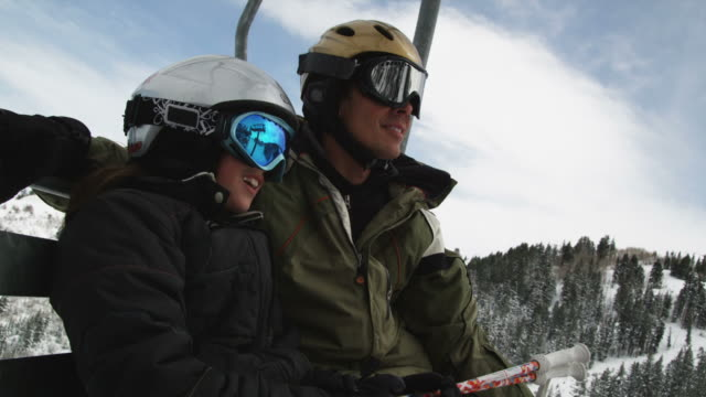 father and daughter on a chairlift at a ski resort