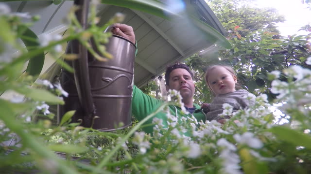 a father and daughter watering their plants outside on a deck. - modern manhood stock videos & royalty-free footage