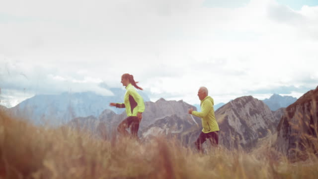 slo mo ds father and grown up daughter running up the mountain meadow - daughter video stock e b–roll