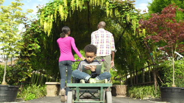 father and mother pulling their son on a cart in a garden - whidbey island shop stock videos and b-roll footage