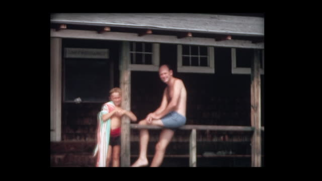 1966 father and son at camp pasquaney - alberta stock videos & royalty-free footage