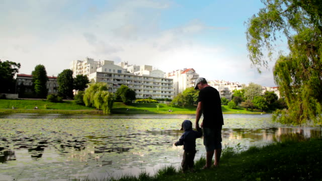 father and son at lake - riverbank stock videos & royalty-free footage