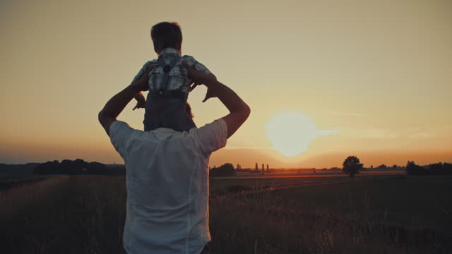 father and son bonding in a meadow - picking up stock videos & royalty-free footage