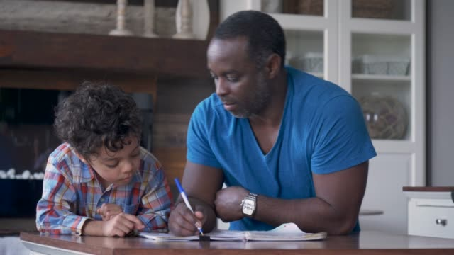 vídeos de stock e filmes b-roll de a father and son do homework together - criança de escola primária