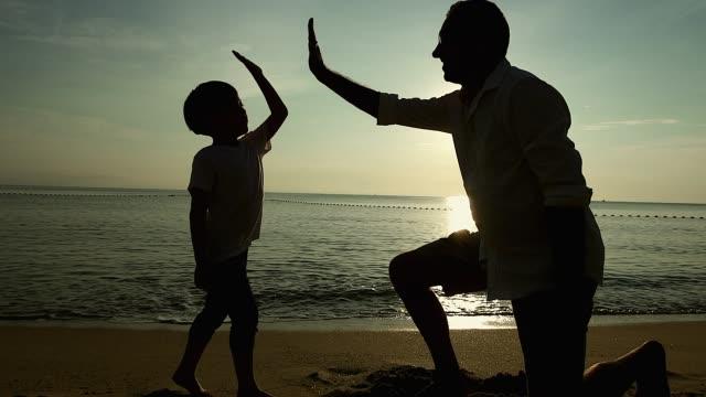 stockvideo's en b-roll-footage met vader en zoon doet high five op het strand bij zonsopgang, ze besteden kwaliteit familie tijd samen. - kwaliteit