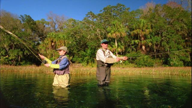 vídeos y material grabado en eventos de stock de ws father and son (12-13) fly fishing in river / tampa, florida, usa - gorra de béisbol