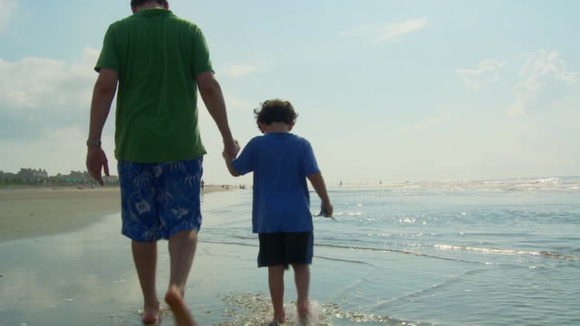 WS Father and son (4-5) holding hands and walking on beach / Isle of Palms, South Carolina, USA