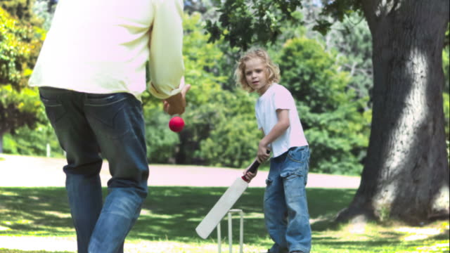 father and son in slow motion playing cricket - cricket video stock e b–roll