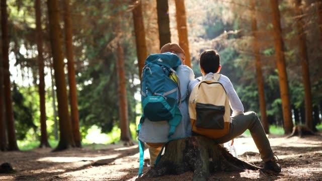 vidéos et rushes de père et fils dans la forêt - être perdu