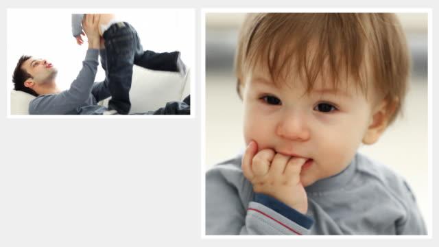 padre e figlio montaggio - genderblend video stock e b–roll