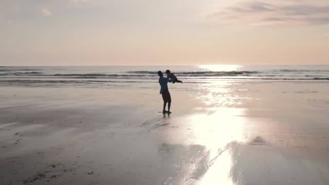 father and son on the beach - single father stock videos & royalty-free footage