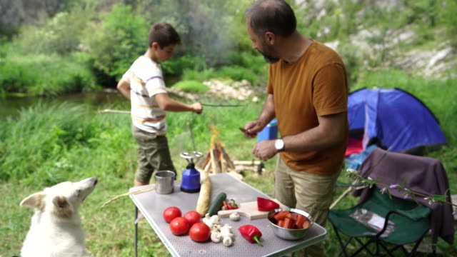 Father and son preparing lunch on camping