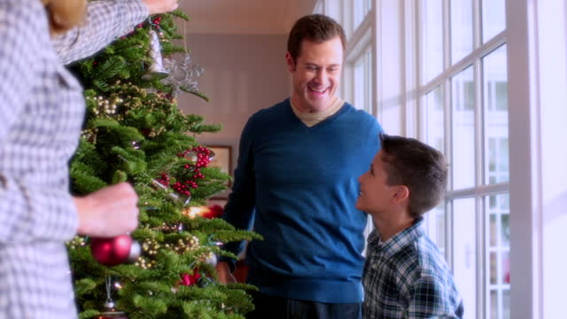 father and son reach to hang ornaments on christmas tree - ornament stock videos and b-roll footage